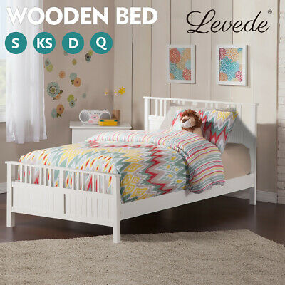 Levede Wooden Kids Bed Frame Child Kid Mattress Base Queen Double King Single