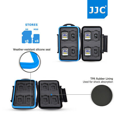 JJC Water-Resistant 8 SD SDXC SDHC + 8 Micro SD Memory Card Case Holder Box