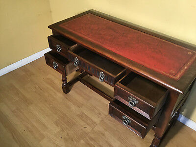 old charm red leather top oak writing desk