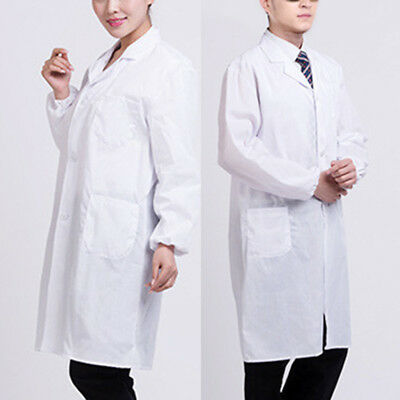 Comfortable Men Coat Medical White Classic Nurse Doctor Gown Jacket Outwear