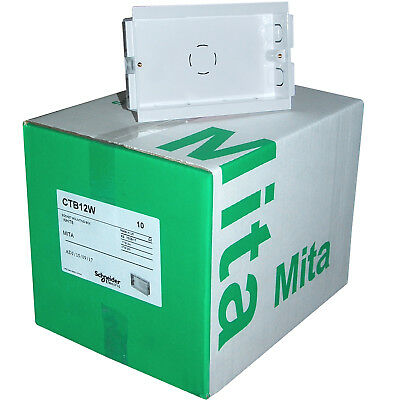 Box of 10 MITA Trunking 2 gang Double Socket Mounting Boxes 25mm Deep - CTB12W