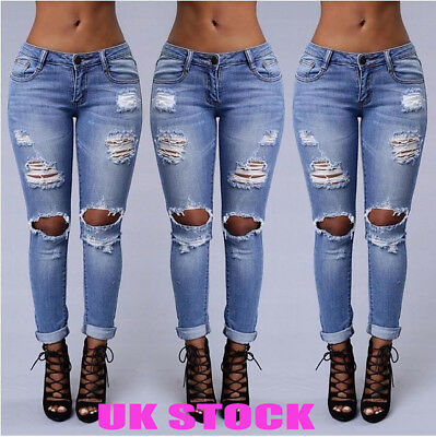 Womens Stretch Faded Ripped Slim Fit Skinny Denim Jeans Size 6 8 10 12 14 16