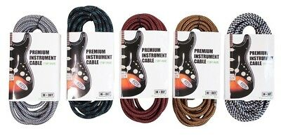 Braided Guitar Cable Straight Angled Jack 3 M 5 M 8 M Electric Acoustic Amp UK
