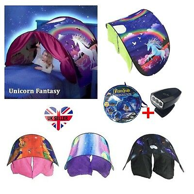 Unicorn Dream Tents With Light Set Foldable Pop Up Tent Bed House Kids Gifts UK