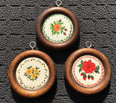 """3pk SPRING FLOWERS """"Brown"""" Sweet Mini Floral Hanging Wall Art Picture Plaques"""