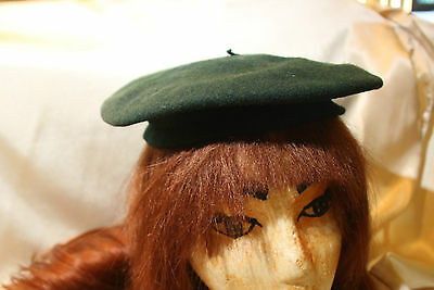 Vintage Beret Hat Child Size Green  100% Wool Beautiful Look!!