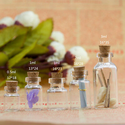 1/10PCS Mini Empty Glass Transparent Bottle Wooden Cork Stopper Little Jars