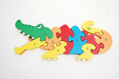 Chunky Wooden Crocodile Number Jigsaw Animal Puzzle Pre-School Kids Toy Game