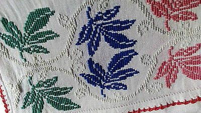 Romanian antique table runner rustic ethnic folk handmade embroidery pattern 40s