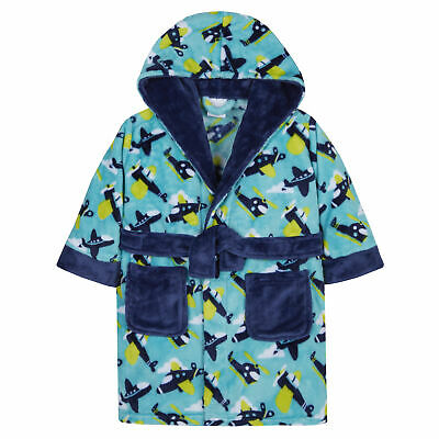 Boys Aeroplane Helicopter Dressing Gown Robe Plush Fleece Toddler Winter Hooded