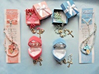 Baby rosary beads, Christening, New baby, Baptism. Rosary beads pink and blue.