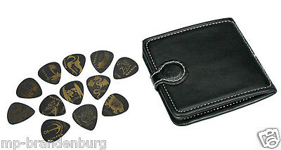 Plectren / Picks - Set mit 12 Plektren - PP-512 in Leder -Etui - 12 delrin picks