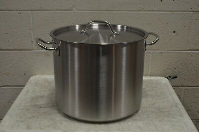Vigor 32 Qt. Heavy-Duty Stainless Steel Aluminum-Clad Stock Pot w/Cover