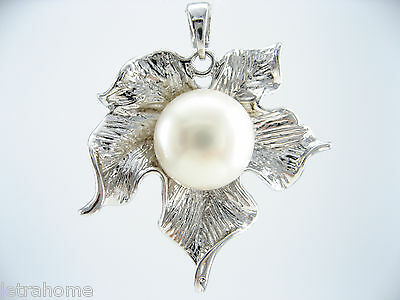 925 Sterling Silver 10mm Real Freshwater Pearl Maple Leaf Pendant Chain Necklace