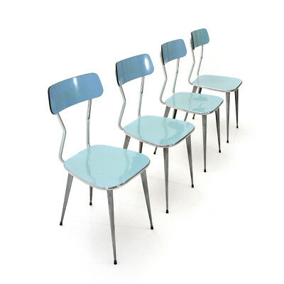 Set di 4 sedie in metallo e formica, vintage dining chairs, mid century italian