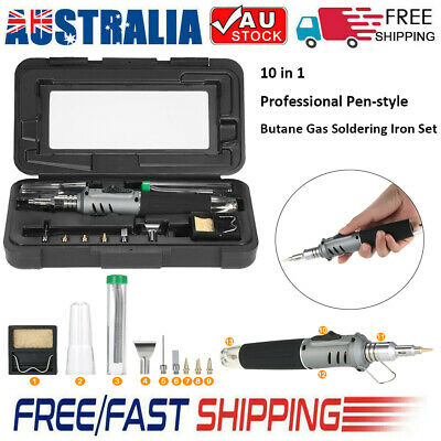 10 in 1 Professional Butane Gas Soldering Iron 26ml Welding Tool Set Grey Z6U5