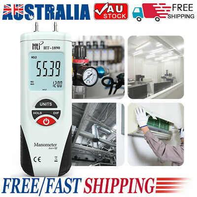 New LCD Digital Manometer Air Pressure Meter Data Hold 11 Selectable Units N1H6