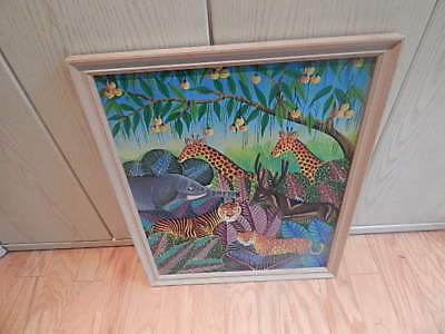 Signed Daniel Louis Haitian Painting 21 In X 18 1/2 Inch Frame Internatinal Sale