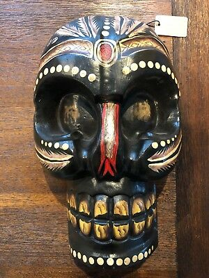 Pier 1 Skull Mask Wall Decor Wood Wooden INDONESIAN HAND MADE