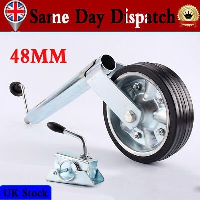 Trailer Caravan 48MM Shaft Jockey Wheel w/ Pneumatic Tyre 400KG + Clamp Antirust