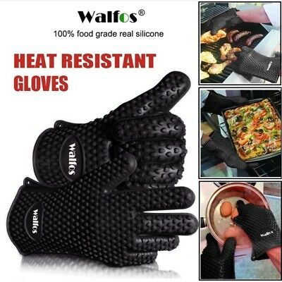 Heat Resistant Silicone Kitchen Barbecue Oven Gloves Cooking BBQ Grilling Mitts