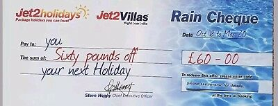 Jet2Holidays £60 Rain Cheque voucher valid till 31st January 2019.Latest codes