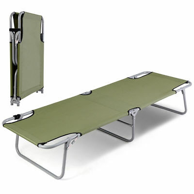 Folding Camping Cot Outdoor Sleeping Bed Portable Heavy Duty Army Military Green