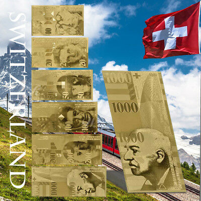 WR Switzerland Swiss 10-1000 Francs Gold Banknote 6pcs Gift Set Collector Items