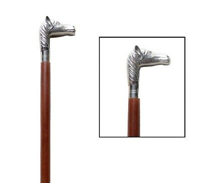 Classic Style Brown Wooden Walking Stick Cane Horse Face Handle Nickle Finish