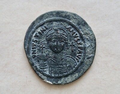 Justinian I (527-565). Bronze follis. The largest known byzantine coin (45 mm)!