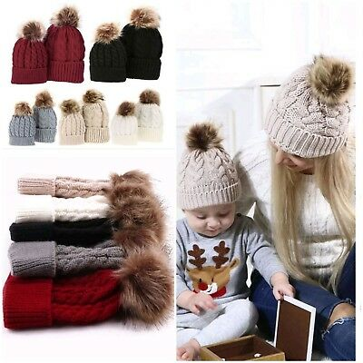 c38edae19 MUM AND BABY Matching Knitted Hat Warm Winter Kid Beanie Wool Skully ...