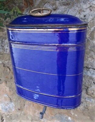 Vintage enamel wall water tank, French wall mounted hand wash, decorative, blue
