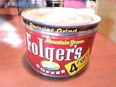 Vintage 1 lb Folger's Mountain Grown Coffee Can Tin Empty