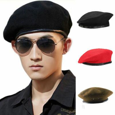 Military Army Soldier Hat Wool French Beret Men Women Uniform Adjust Cap  Unisex 263eb7061ae