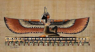 Egyptian Handpainted Papyrus Art: Winged Isis from Seti's Tomb IMPORTED SIGNED