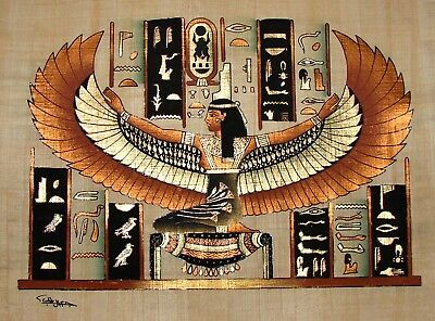Egyptian Handpainted Papyrus Winged Isis on Gold King Tut's Tomb IMPORTED SIGNED