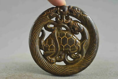 Collection Chinese Style Old Jade Carve Dragon Around Turtle Tibet Pendant Gift