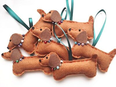 Handmade Dachshund Sausage Dog Christmas Decoration Hanging Gift