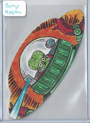 2017 Topps Mars Attacks The Revenge 1/1 Shaped Sketch Card by Barry Nygma