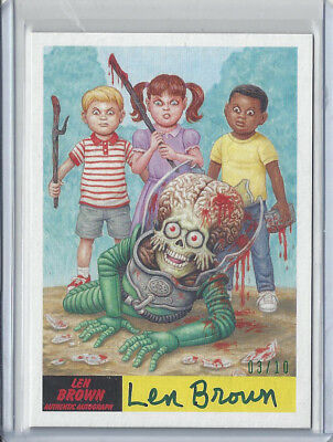 2017 Topps Mars Attacks The Revenge Len Brown Creator Autograph Card #47 03/10
