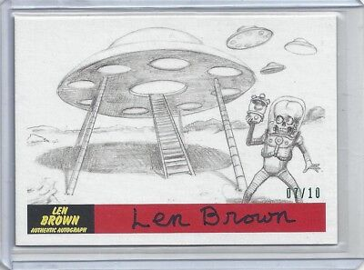 2017 Topps Mars Attacks The Revenge Len Brown Creator Autograph Card #P-4 07/10