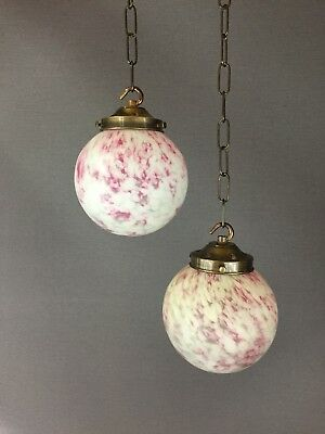 Original Art Deco Pink Marble Glass Light Shades With Aged Brass Gallery vintage