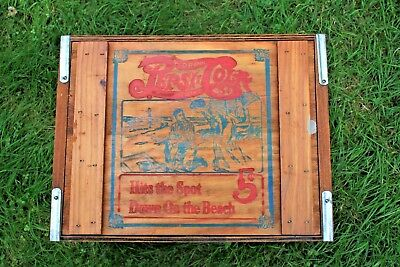 """Pepsi Cola Wooden Crate Box w/Magnetic Lid """"Hits the Spot Down On The Beach"""""""