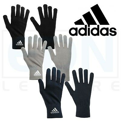 8d47c26416e Adidas Mens Knitted Gloves Football Running Training Cold Weather Winter  Warm