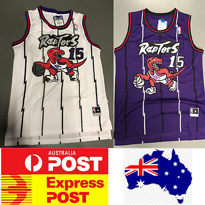 Toronto Raptors Vince Carter 1990s vintage style jerseys, white color or purple