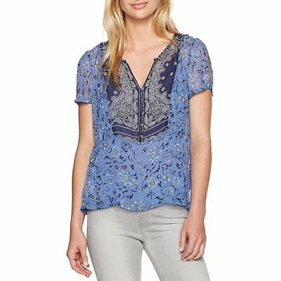 NEW!!! Lucky Brand Printed Sheer-Back Top, Navy Blue, Size VARIETY!!!