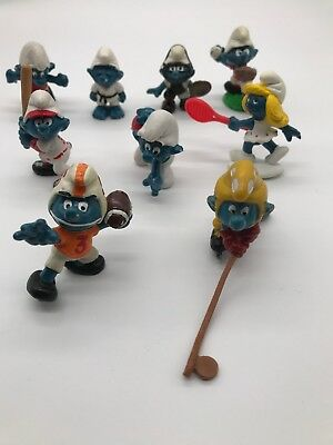 Vintage Lot of 9 Smurfs 1981 Peyo Sports: Baseball, Hockey, Bowling, Football