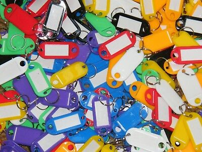 Key Tags Plastic Key Rings ID Tags Name Label Key Fob Tag - Choose Your Colour**