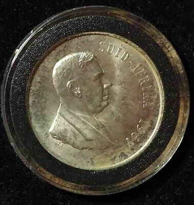 South Africa Silver 1967 1 Rand Coin Uncirculated Encapsulated From Mint