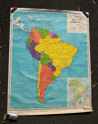 Vintage School Map South America Phillips Cloth Backed World